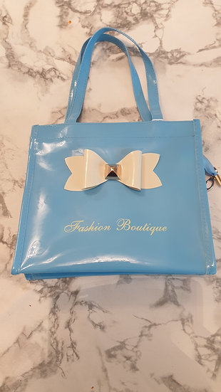 Bowknot Decoration Patent small Tote bag BLUE