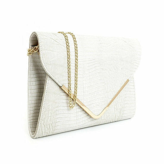 Italian Designer Clutch Handbag, Shoulder Purse WHITE