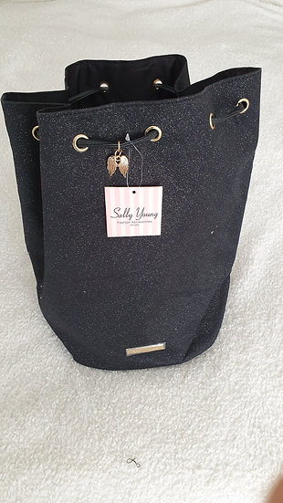 Sally Young Bucket bag with Rope Bundle mouth BLACK GLITTER