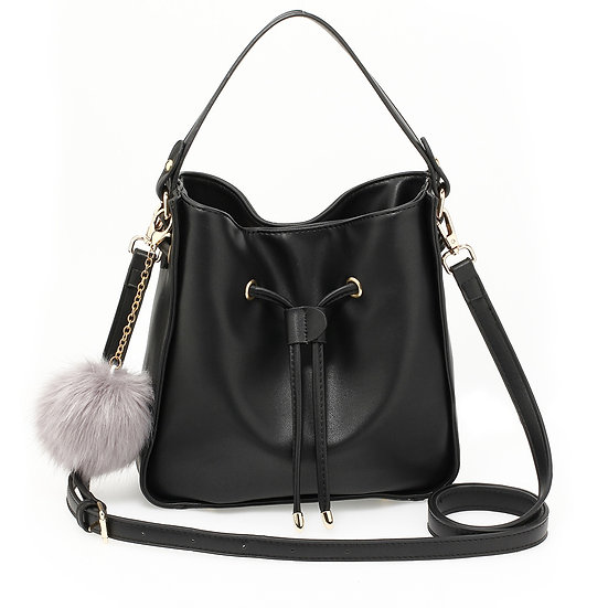 Black drawstring Tote Bag with faux fur bag charm