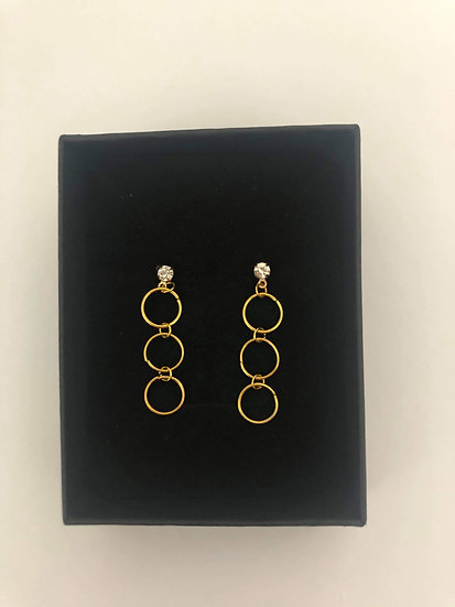 Simple Design Three Round Ring Long Earrings