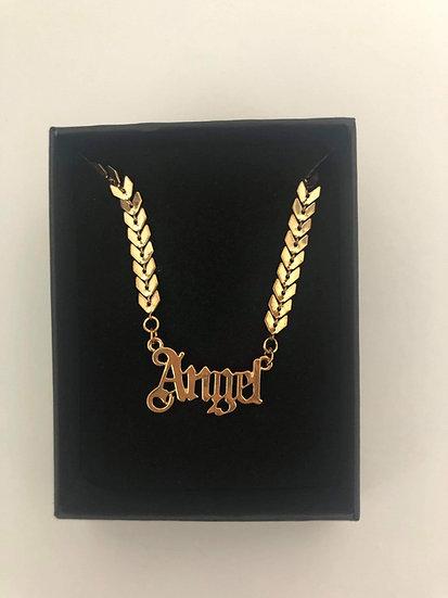 Angel Letter Chocker  Necklace GOLD effect finish