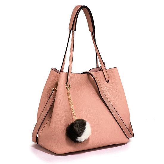 Hobo Bag With Faux-Fur Charm