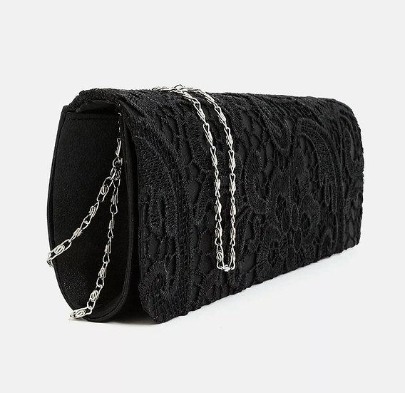 Ladies Clutch Bag, Floral Lace SATIN