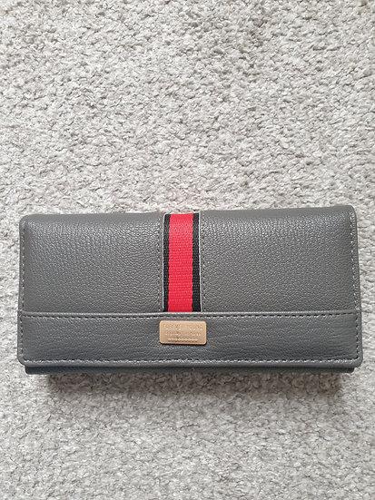 Ladies Long Wallet / Purse with Buckle Design in Grey