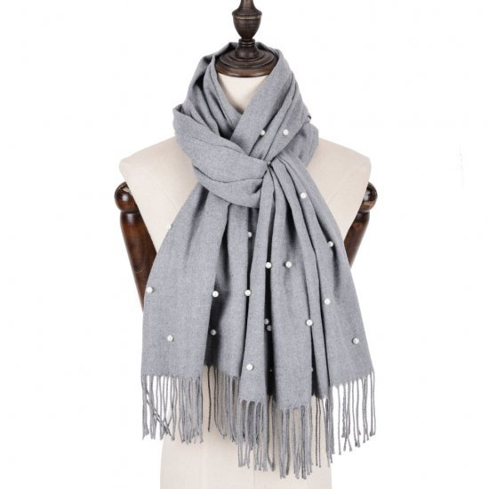 Plain Pearl Tassels Scarf in Grey