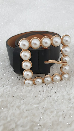 One-Buckle Solid Belt with Pearl Effect