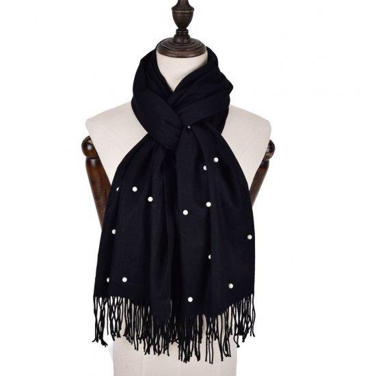 Warm Plain Pearl Tassels Scarf in Black
