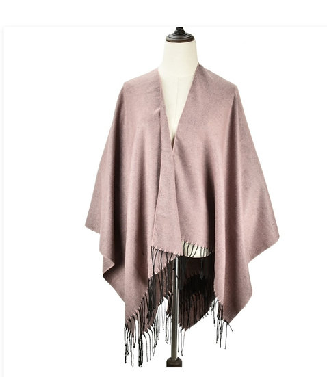 Super soft Long  Shawl / Cape With Tassels PINK