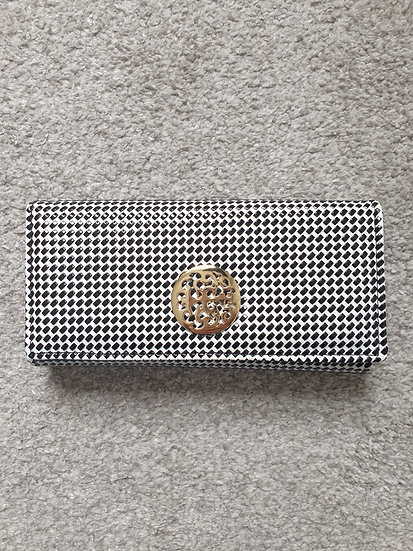 Long Spotted Wallet With Hardware Decoration and stylish clasp in White