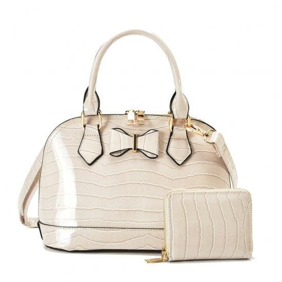 Stylish Ladies Bag Set -  Croc Finish