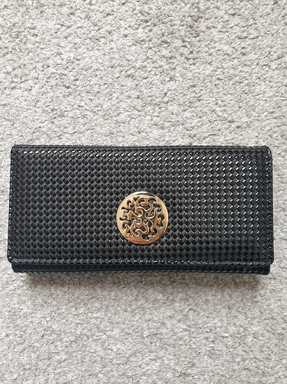 Long Wallet / Purse in Black with Gold hardware