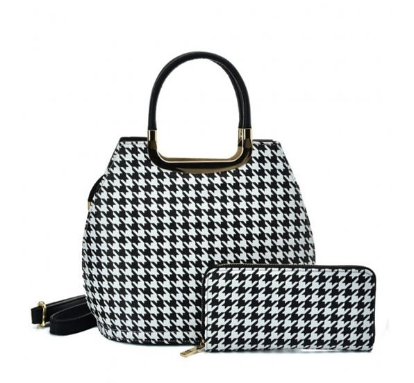 Houndstooth Design Bag with matching purse