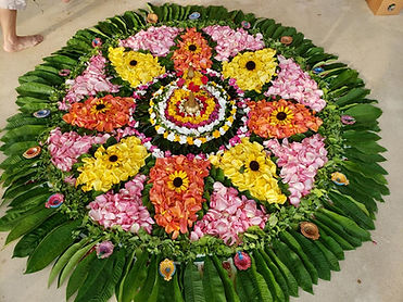 Floral rangoli collaborative art