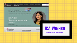 Dr. Srivi Wins Applied/Public Policy Research Award From the International Communication Association