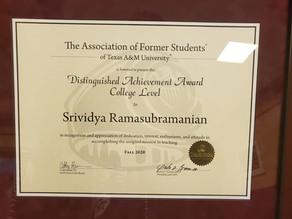 Dr. Srivi Accepts AFS Distinguished Teaching Achievement Award