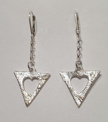 """Silver earrings """"Tri Heart Short"""""""