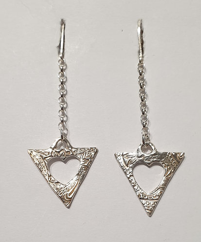 "Silver earrings ""Tri Heart Long"""