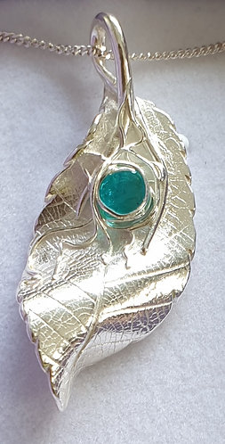Silver leaf with turquoise cabochon