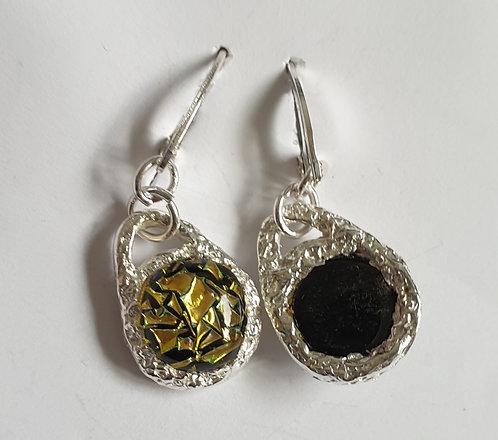 Gold Crackle Earrings