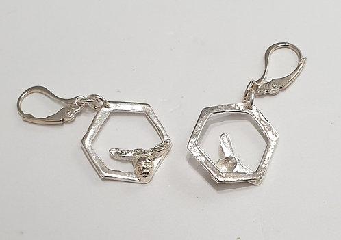 "Silver earrings ""Bee on a cell"""