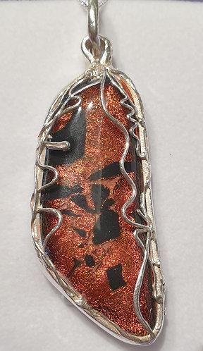Silver surround bronze cabochon filigree strands