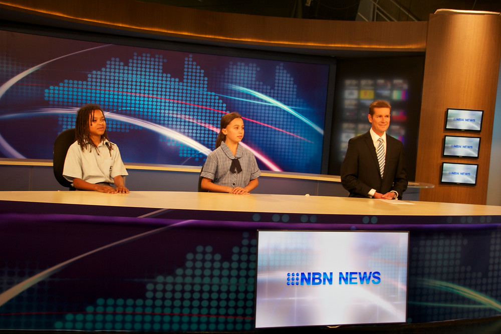 Ben and I at the NBN news desk with Mr Paul Lobb