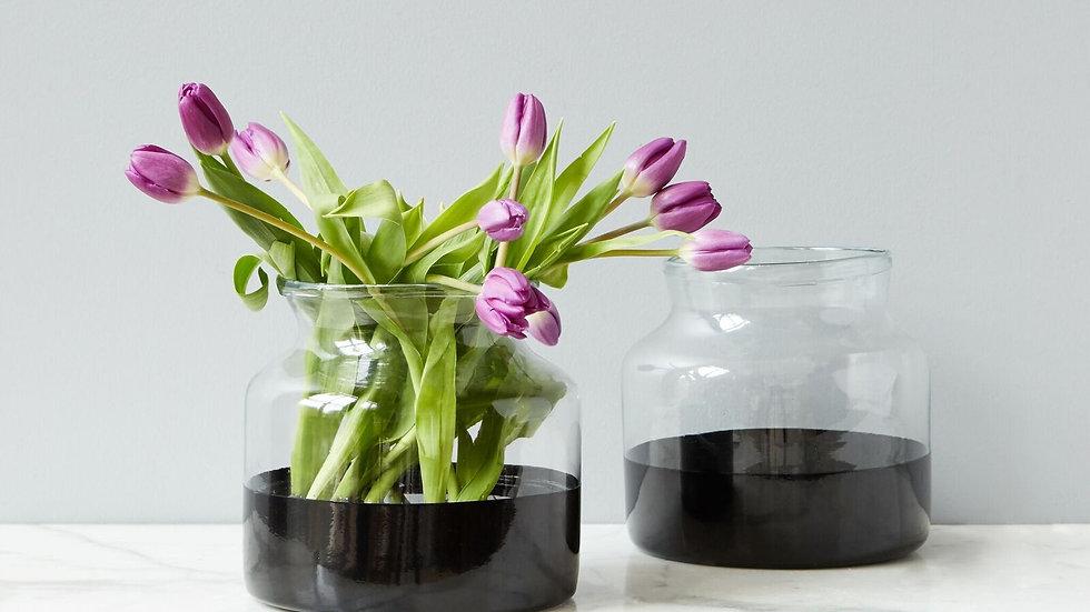 Black Colorblock Flower Vase