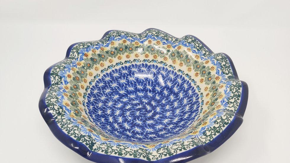 Polish Pottery Wavey Edged Serving Bowl