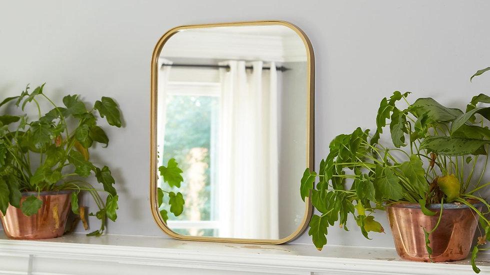 Gold Rectangle Retro Mirror, Medium