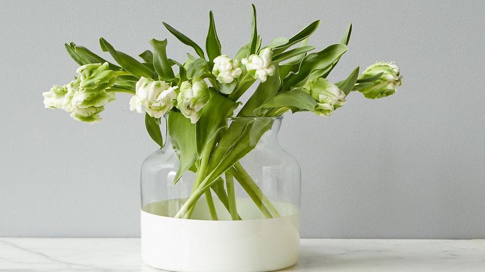 White Colorblock Flower Vase