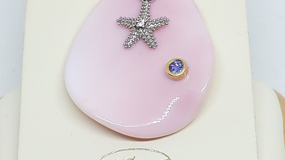 Conch Shell Pendant w/18K,Precious Silver Star Fish/bail & Tanzanite