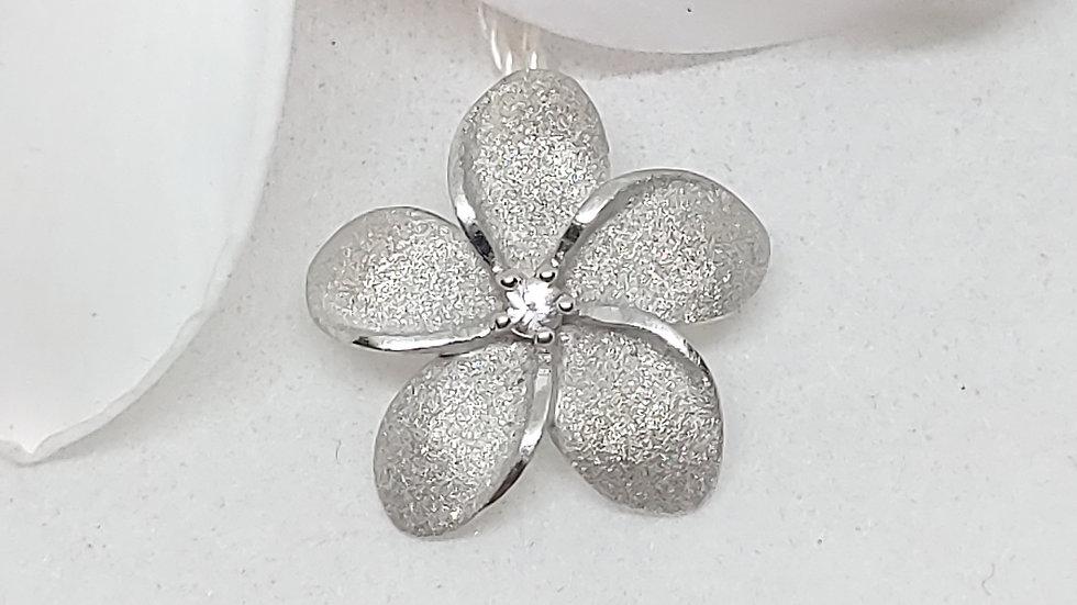 Denny Wong Precious Silver Plumeria Pendant W/White Sapphire, Rhodium, 20mm