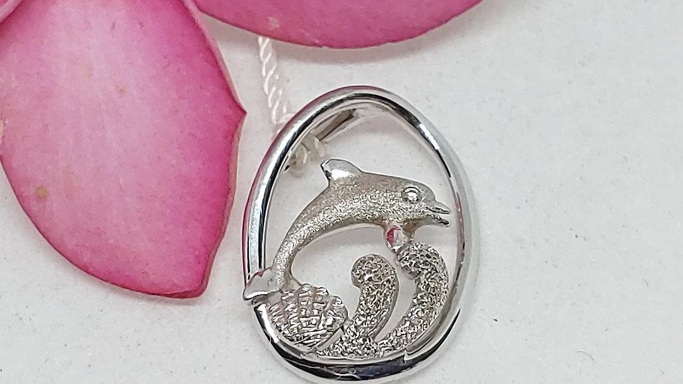 Denny Wong Precious Silver Dolphin Pendant WDiamond, Rhodium