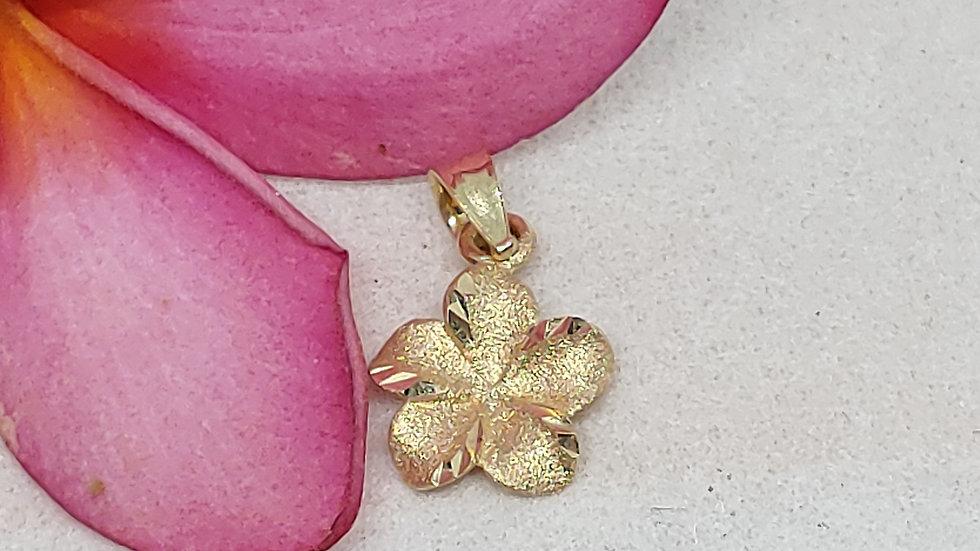 14K Plumeria Pendant w/Diamond, 11mm