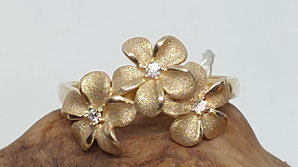 14K Denny Wong Plumeria (3) Ring, with Diamonds