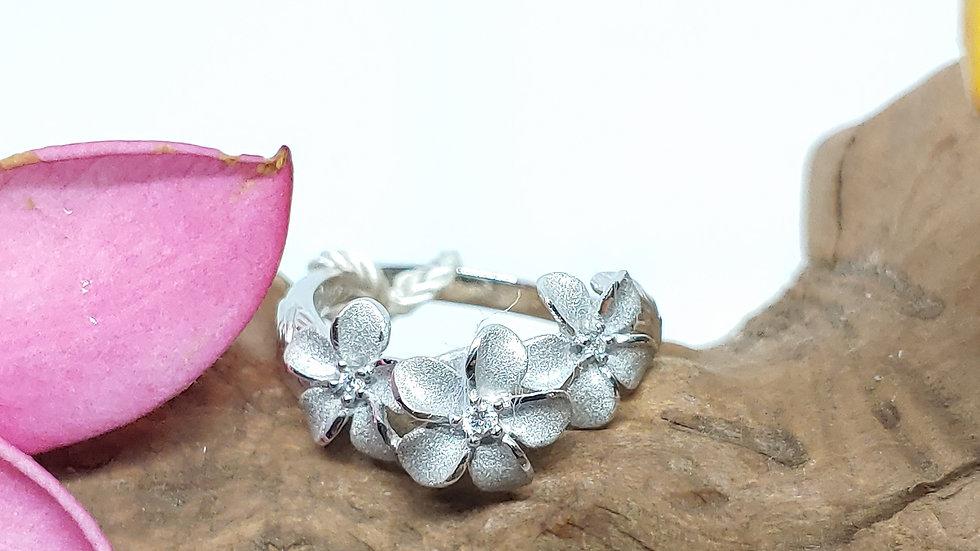 14K Denny Wong Plumeria (3) Ring, with Diamonds, WG