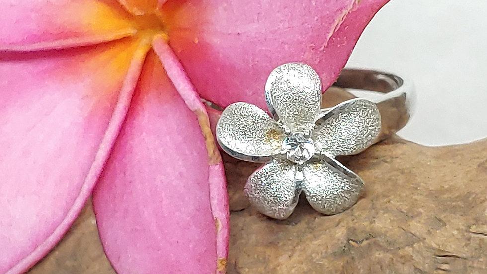 Denny Wong Precious Silver Plumeria Ring W/White Sapphire, Rhodium, 13mm
