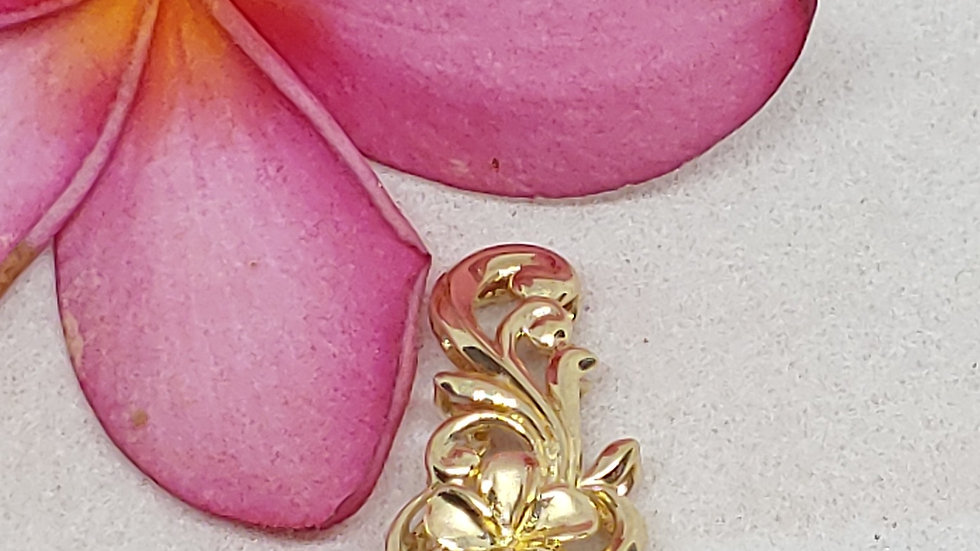 14K Plumeria Flowers Pendant