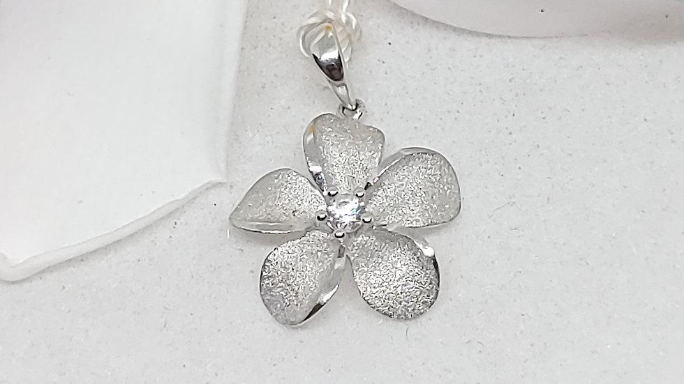Denny Wong Precious Silver Plumeria Pendant W/White Sapphire, Rhodium, 15mm