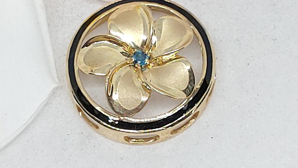 14K Plumeria Flower Pendant w/Blue Diamond & Black Border