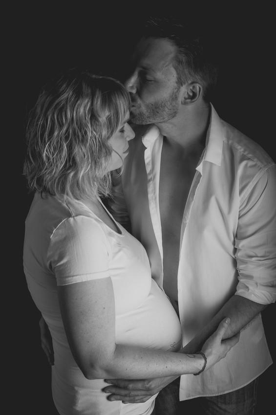 Papa / Maman / photo studio noir et blanc