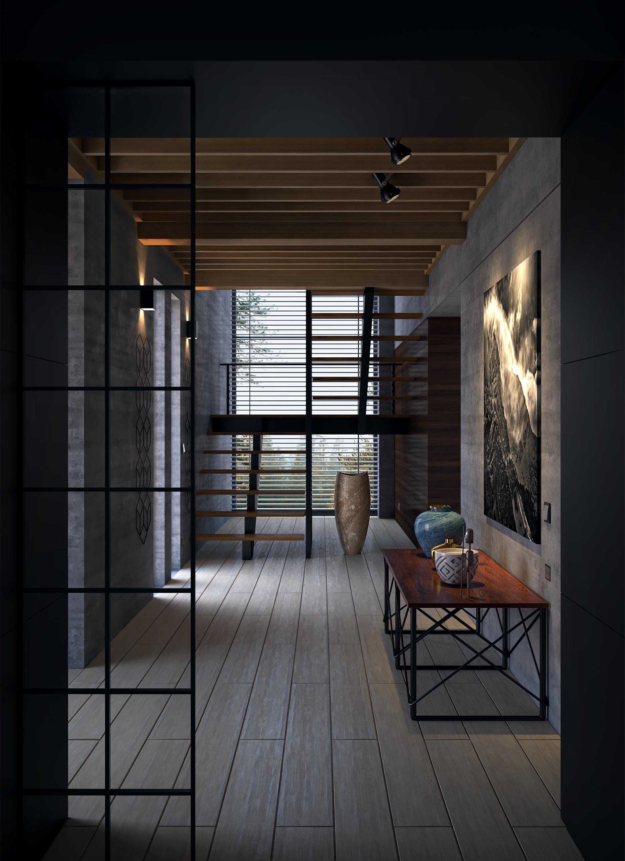 minimalist concrete Hallway