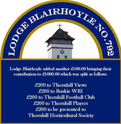 Lodge Blairhoyle No. 792 Thornhill Donations