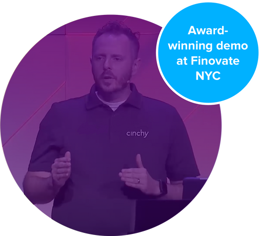 CEO Dan DeMers presenting award winning data fabric company Cinchy at Finnovate NYC 2019.
