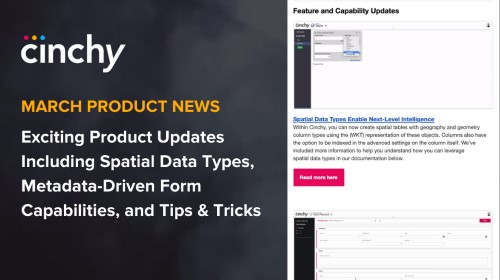[Read] Cinchy Product News for March: Spatial Tables, Metadata-Driven Forms, Cell Commenting, and More