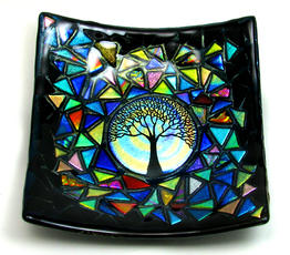 Round Etched Tree Mosaic