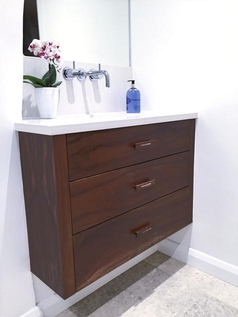 Bespoke walnut bathroom vanity unit