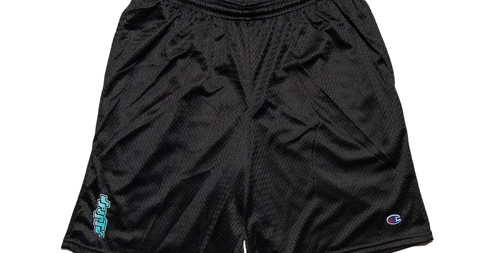 Embroidered Bubble Mesh Shorts