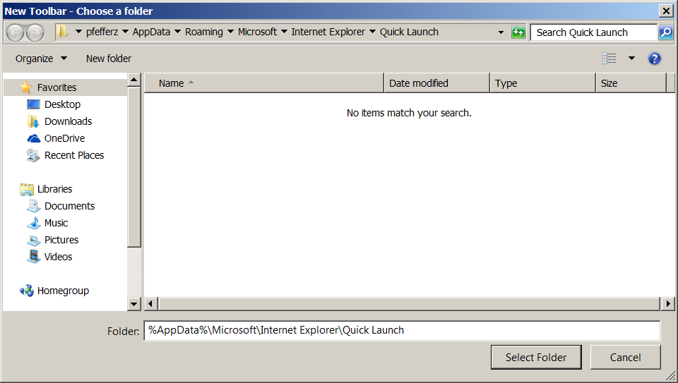 Paste the Quick Launch link into the Folder field